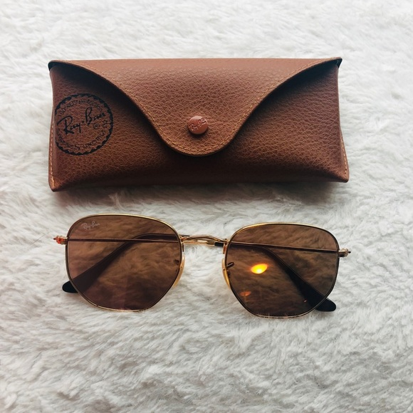 227bd568a7d RAY-BAN  Gold hexagonal flat lenses